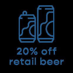 20% Off Retail Beer